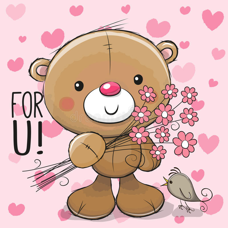 Cute Cartoon Teddy Bear with a flower royalty free illustration