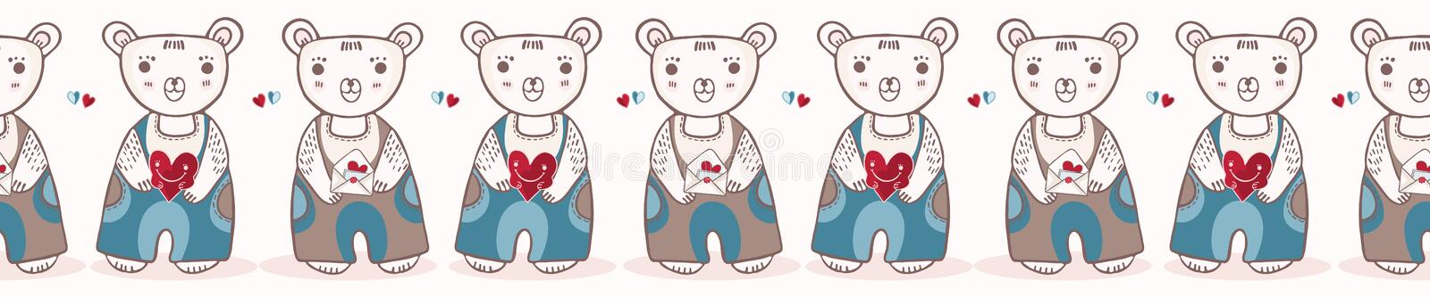 Cute cartoon teddy bear with love letter and flower stock illustration