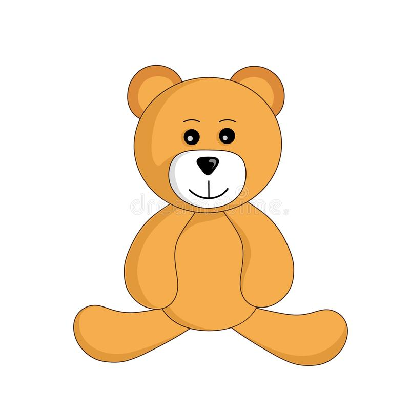 Cute cartoon teddy bear toy sitting and smiles vector isolated image for children. Cute cartoon teddy bear toy sitting and smiles vector isolated image vector illustration