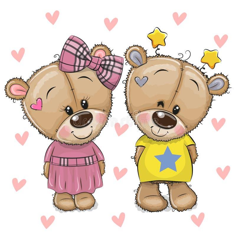 Free Cute Cartoon Teddy Bears On A Hearts Background Stock Image - 192703961