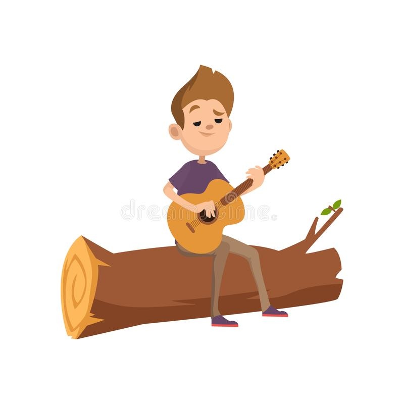 Cute cartoon teenage boy sitting on a log and playing guitar. Summer activity, camping or hiking concept. Vector flat royalty free illustration