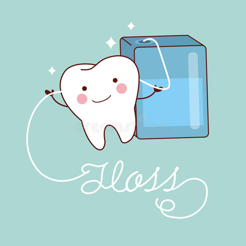Cute cartoon teeth with floss. Cute cartoon teeth smile happily with floss stock illustration