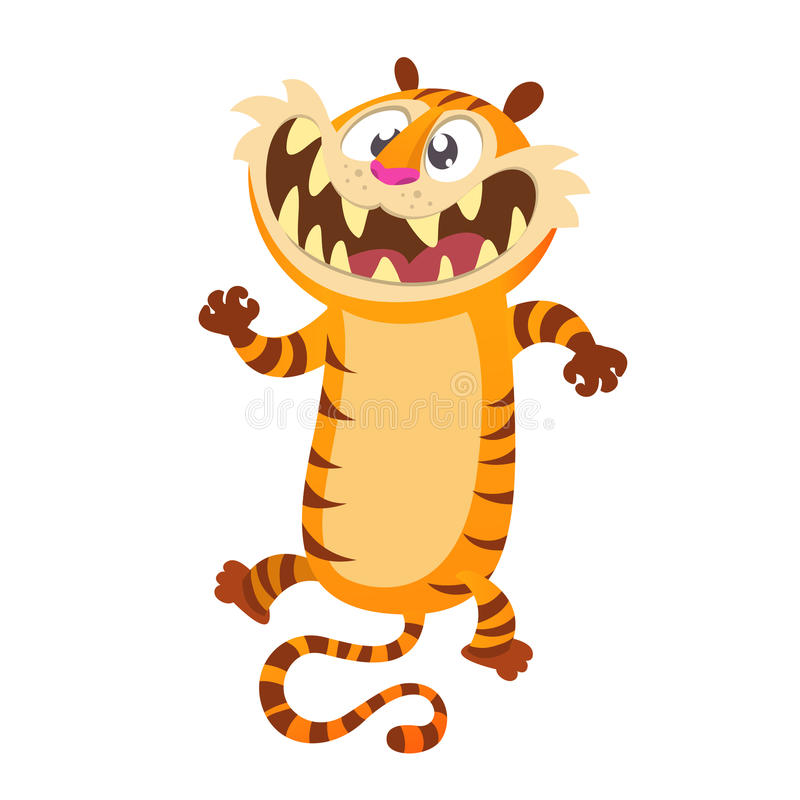 Cute cartoon tiger character. Wild animal collection. Baby education. Isolated. White background. Flat design Vector illustration. royalty free illustration