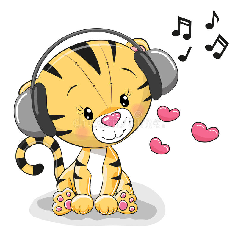 Cute cartoon Tiger. With headphones and hearts royalty free illustration
