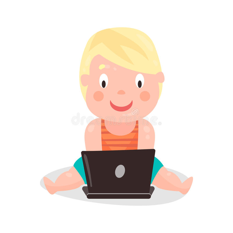 Cute cartoon toddler boy sitting on the floor and playing using laptop colorful character Illustration. Isolated on a white background vector illustration