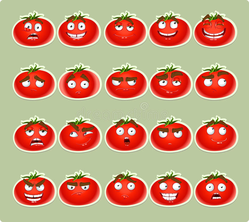 Download Cute Cartoon Tomato Smile With Many Expressions Ic Stock Illustration - Image: 23673733