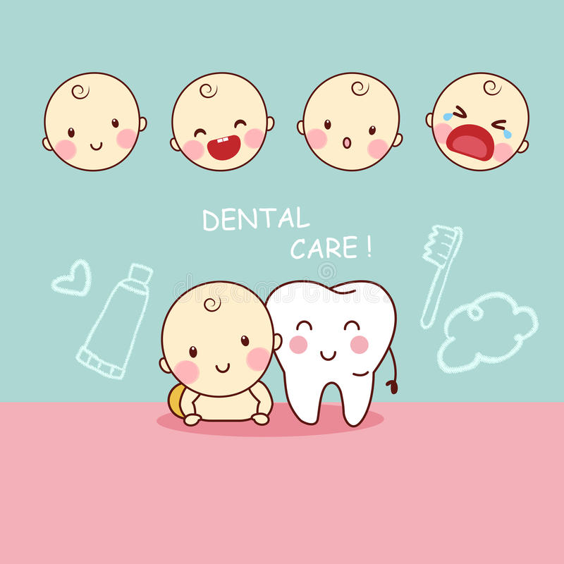 Cute cartoon tooth with baby vector illustration