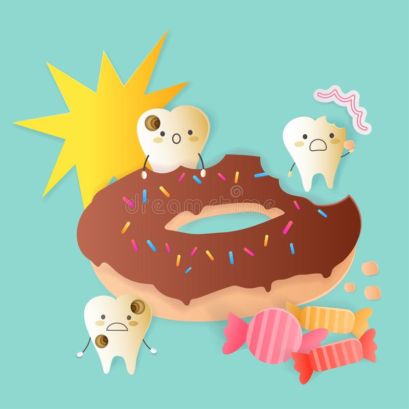 Cute cartoon tooth decay problem. With donate vector illustration