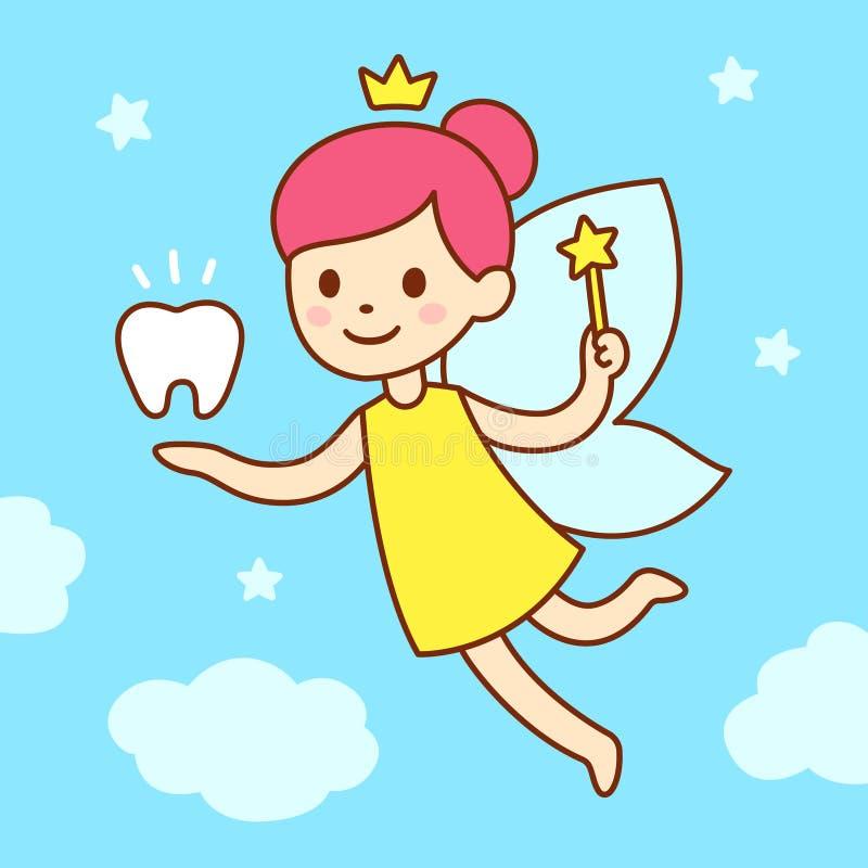 Cute cartoon tooth fairy royalty free illustration