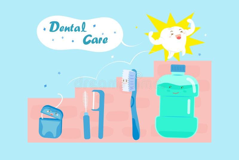Cute cartoon tooth vector illustration