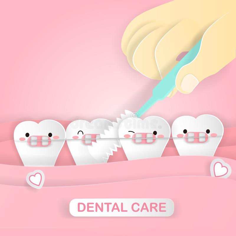 Cute cartoon tooth royalty free illustration