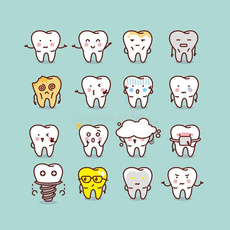 Free Cute Cartoon Tooth Set Royalty Free Stock Image - 62201086