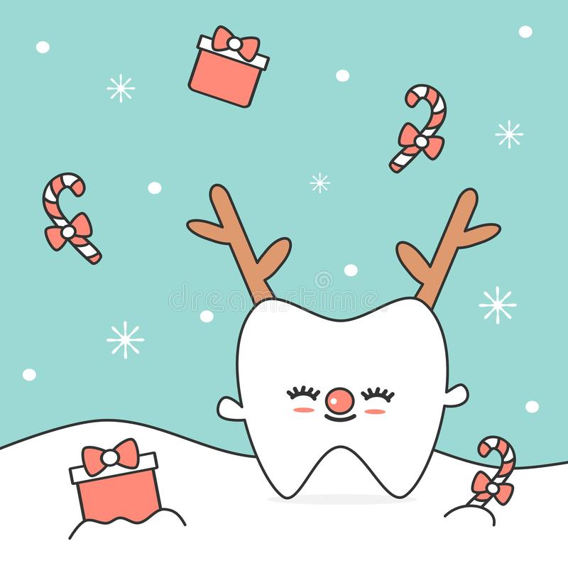 Cute cartoon tooth in the snow with reindeer horn vector christmas illustration vector illustration