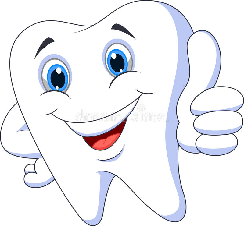 Cute cartoon tooth with thumb up royalty free illustration