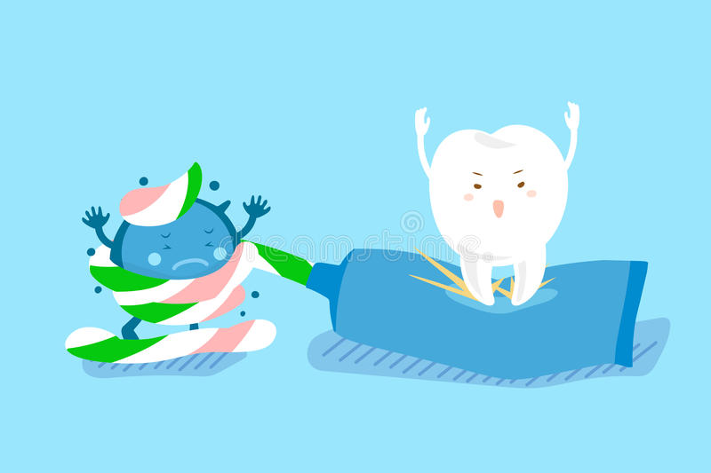Cute cartoon tooth use paste vector illustration