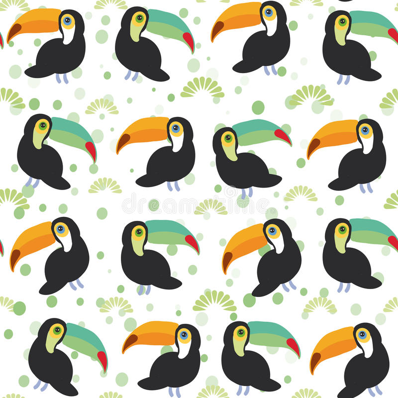 Cute Cartoon toucan birds set on white background, seamless pattern. Vector royalty free illustration