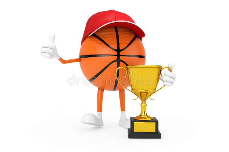 Cute Cartoon Toy Basketball Ball Sports Mascot Person Character with Golden Trophy. 3d Rendering stock illustration