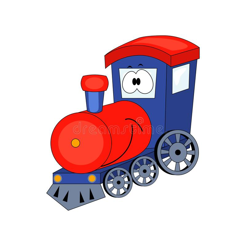 Cute cartoon train. Vector illustration isolated on white background. Vector vehicles. royalty free illustration
