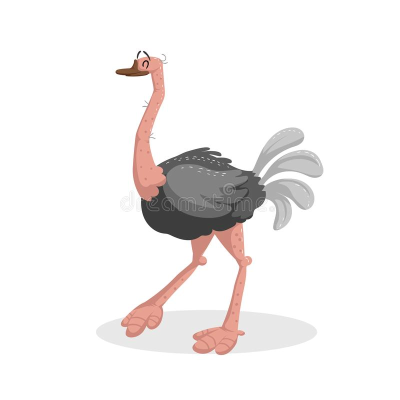 Cute cartoon trendy design cheerful ostrich with closed stock illustration