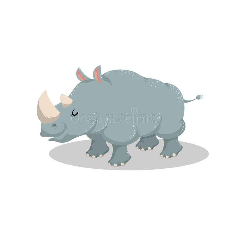 Cute cartoon trendy design cheerful rhino with closed eyes . African or safari animals wildlife vector illustration royalty free illustration