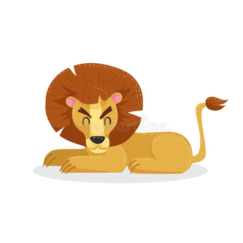 Cute cartoon trendy design little lion rest with closed royalty free illustration
