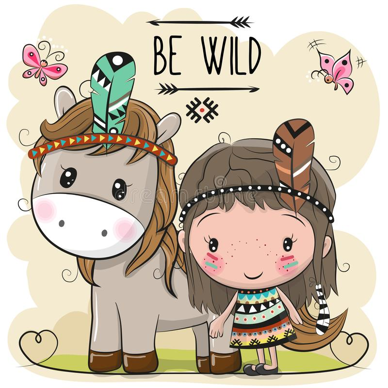 Cartoon tribal girl and Horse with feather vector illustration