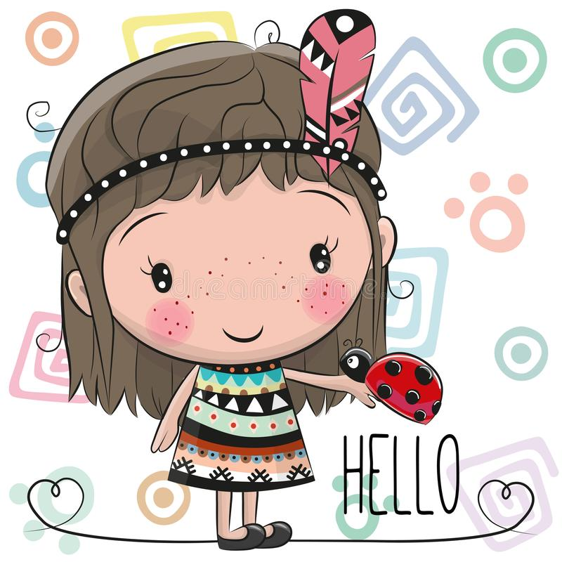 Cute Cartoon girl and ladybug stock illustration