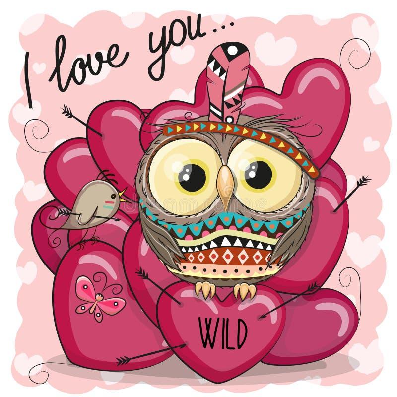 Cute Cartoon tribal owl with hearts vector illustration
