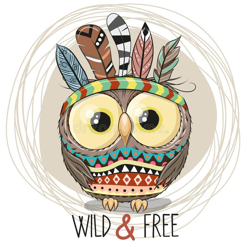 Cute Cartoon tribal Owl with feathers royalty free illustration