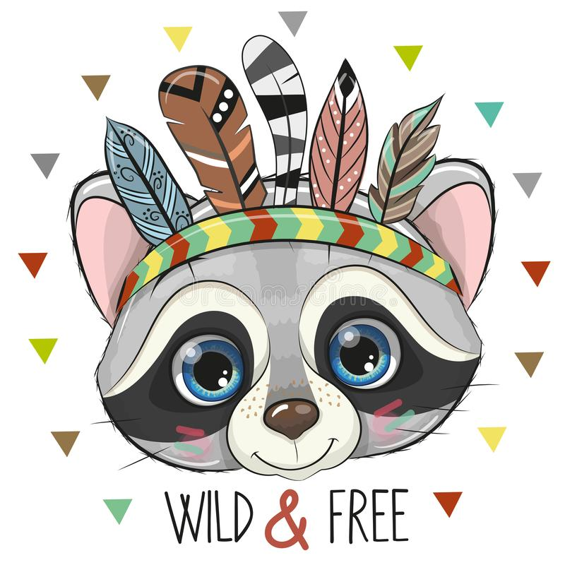 Cute Cartoon tribal Raccoon with feathers royalty free illustration