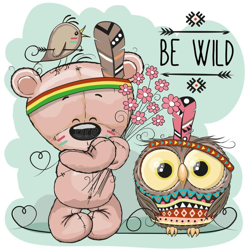 Cute Cartoon tribal Teddy Bear and owl vector illustration