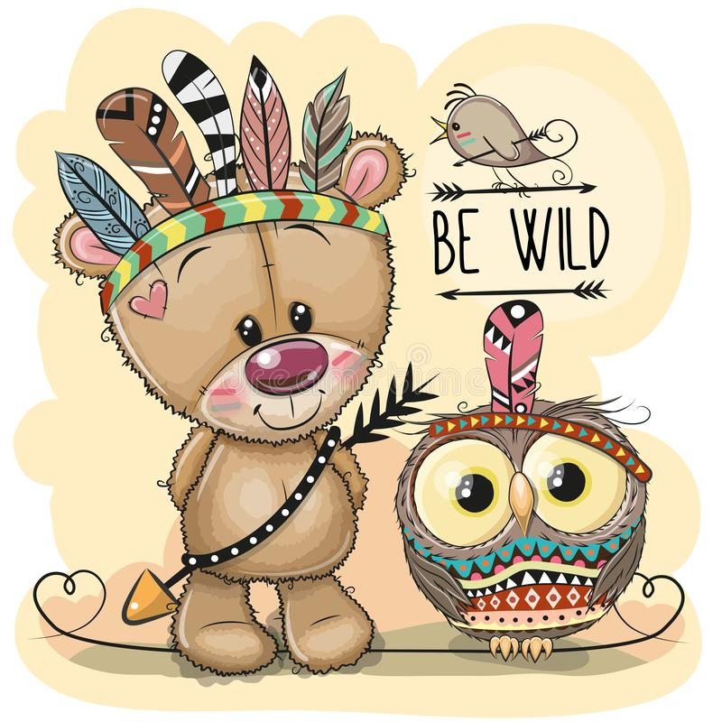 Cute tribal Teddy Bear and owl with feathers vector illustration