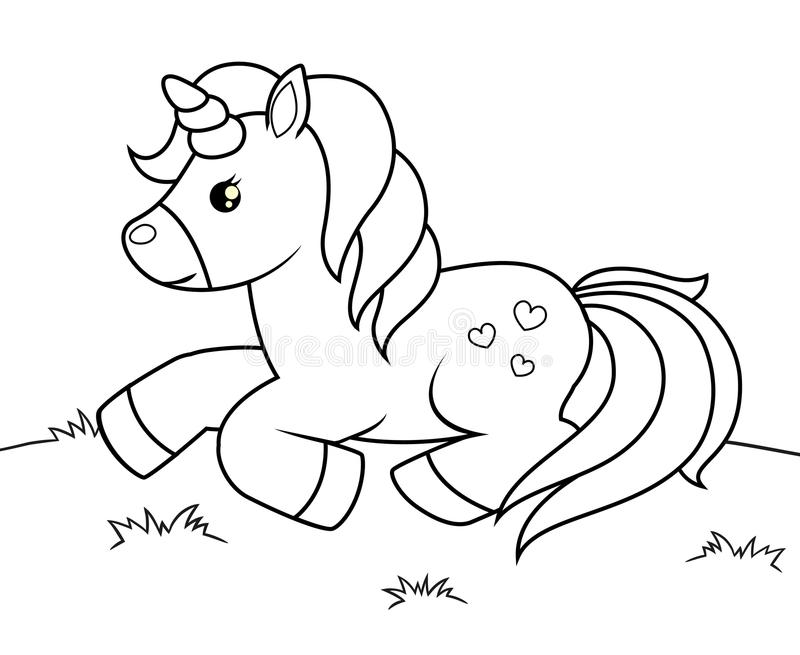 Cute cartoon unicorn. Black and white vector illustration for coloring book royalty free illustration