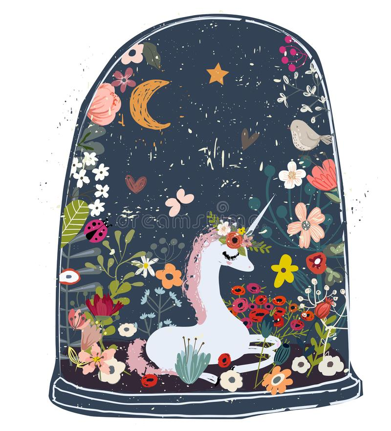 Cute cartoon unicorn. With flower wreath and heart stock illustration