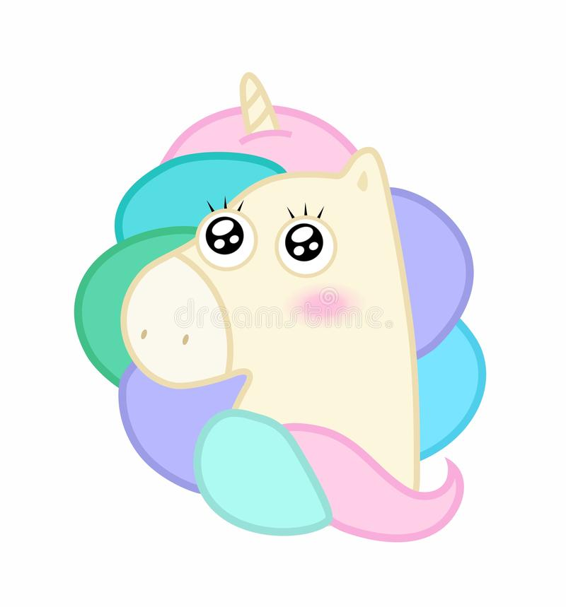 Cute cartoon unicorn. Cute unicorn. Cartoon fairy pony, character for t-shirt, birthday greeting card, vector sticker design royalty free illustration