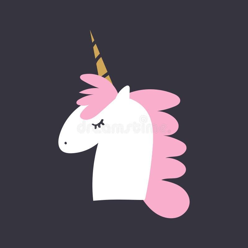Cute cartoon unicorn face, baby stylish illustration, unique print. Vector and jpg image vector illustration