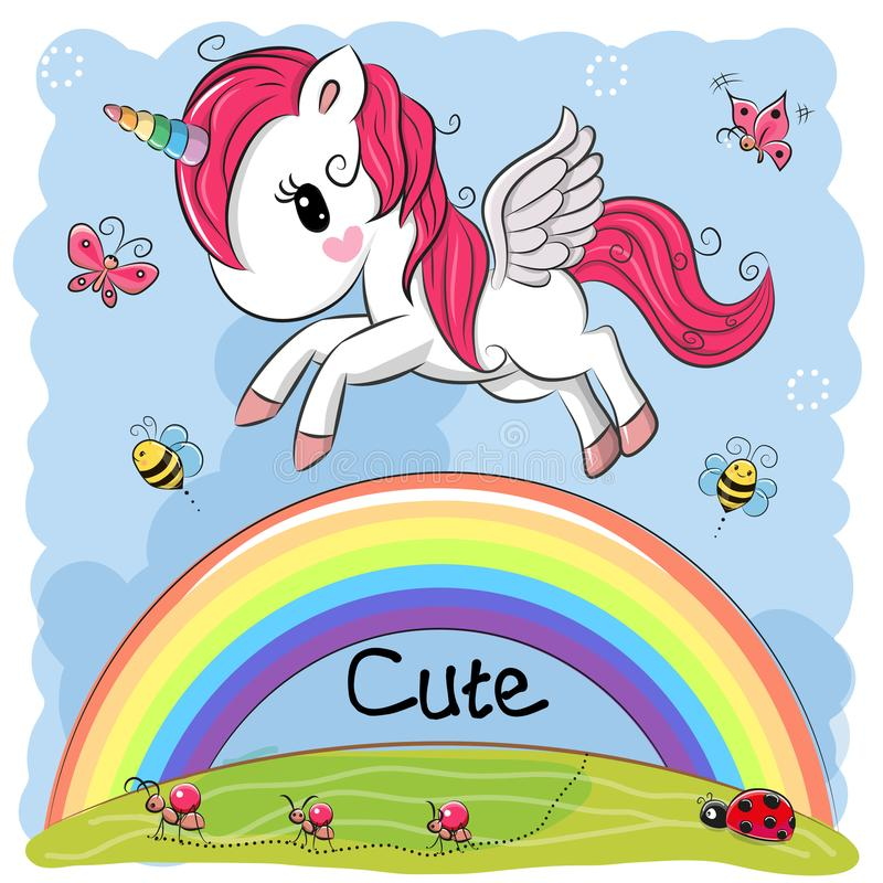 Cute Cartoon Unicorn and rainbow royalty free illustration