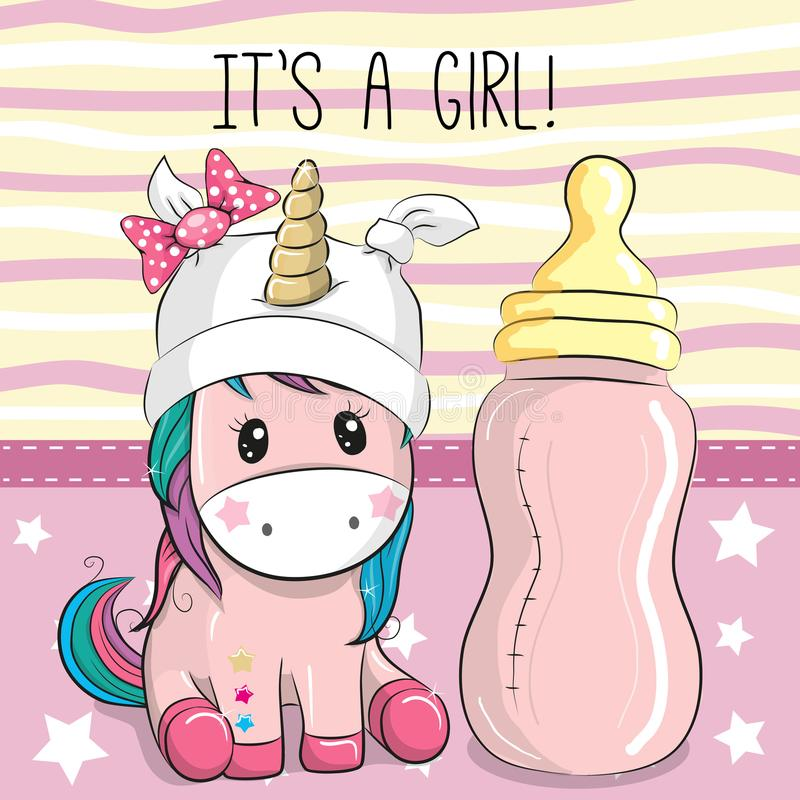 Cute Cartoon Unicorn with feeding bottle. Cute Cartoon Unicorn girl with feeding bottle royalty free illustration