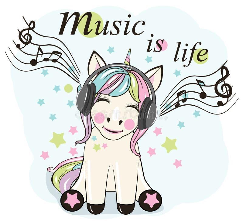 Cute Cartoon Unicorn with headphones. A happy unicorn listens to music royalty free illustration