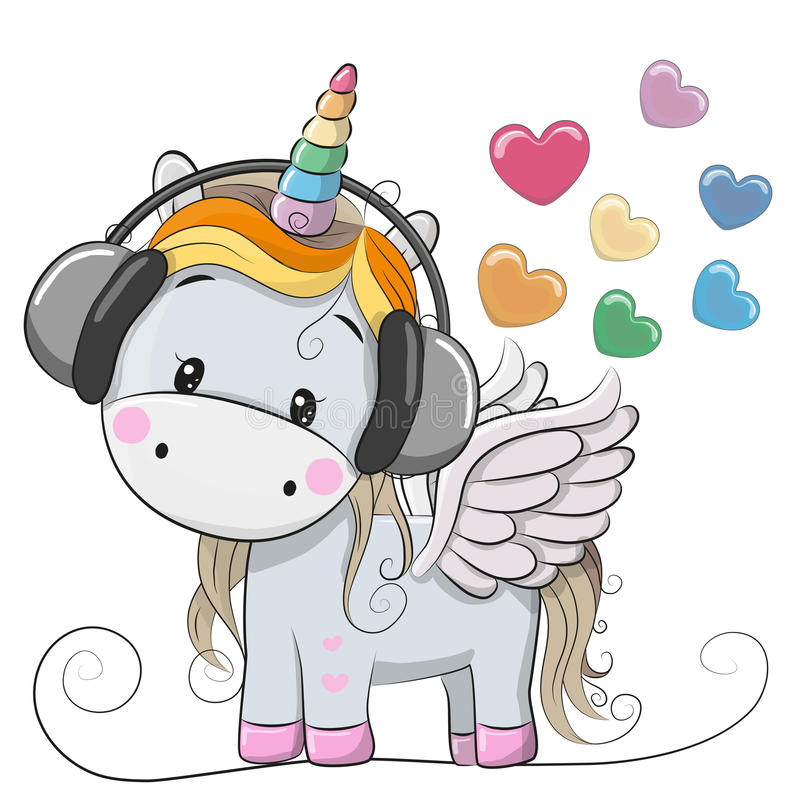 Cute Cartoon Unicorn with headphones. And hearts