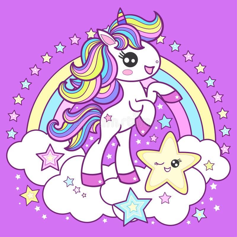 Free Cute, Cartoon Unicorn On A Rainbow Background. Children`s Illustration. Vector Image Stock Image - 182749401