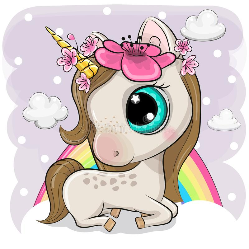 Free Cute Cartoon Unicorn On Clouds Royalty Free Stock Photography - 149710417