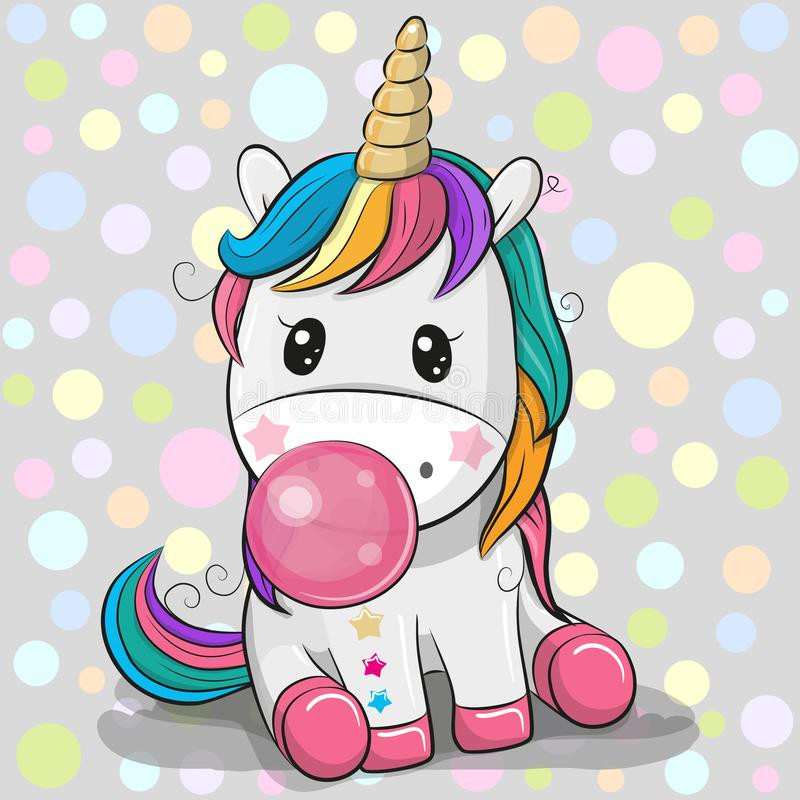 Cute Cartoon Unicorn with bubble gum. Cute Cartoon Unicorn with a pink bubble gum vector illustration