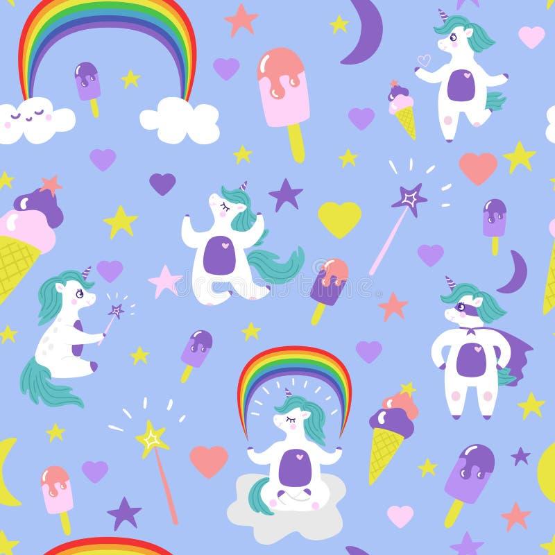 Cute cartoon unicorn seamless pattern vector stock illustration