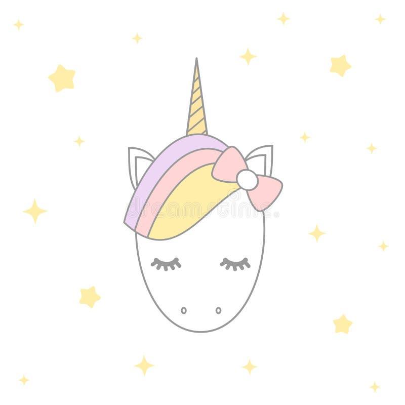 Cute cartoon unicorn with stars illustration design stock illustration
