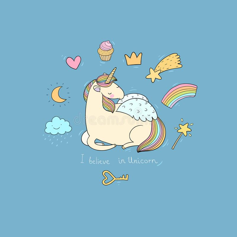 Cute cartoon unicorn with wings. Mythical creature. Hand drawing isolated objects on white background. Vector illustration vector illustration