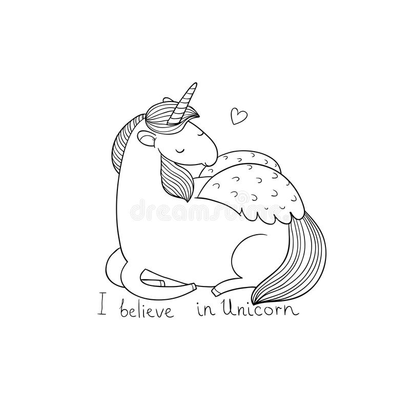 Cute cartoon unicorn with wings. Mythical creature. Hand drawing isolated objects on white background. Vector illustration royalty free illustration