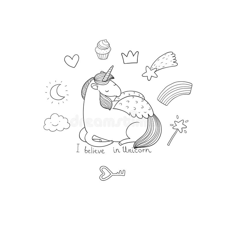 Cute cartoon unicorn with wings. Mythical creature. Hand drawing isolated objects on white background. Vector illustration stock illustration