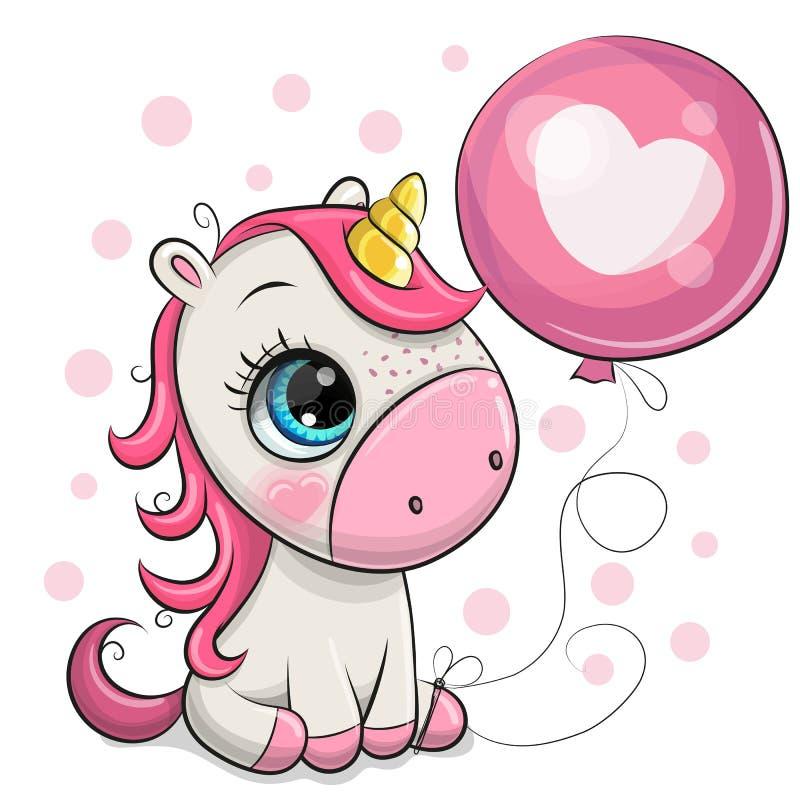 Free Cute Cartoon Unicorn With Balloon Stock Photos - 144503203