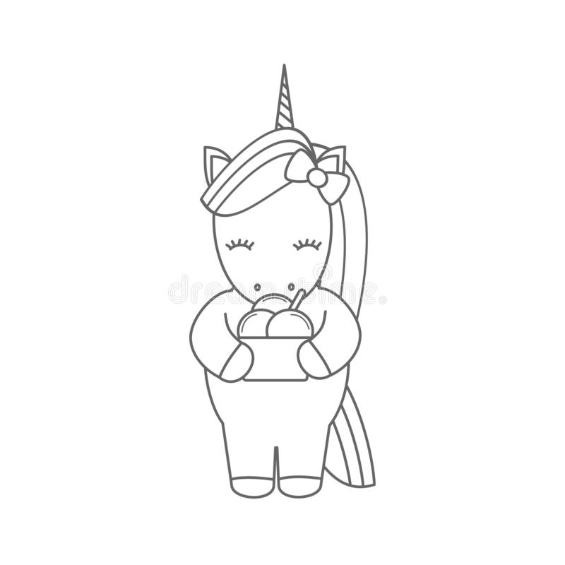 Cute Cartoon Unicorn. Ice Cream. Black And White Vector ...